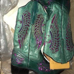 Cowboy pro turquoise fuchsia snip toe size 8 boots
